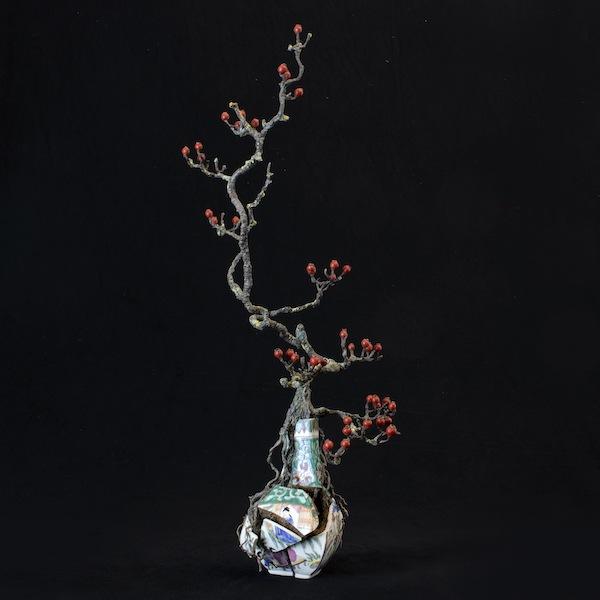 'Berry branch' (2020) 75 x 30 x 30 cm, Mixed media