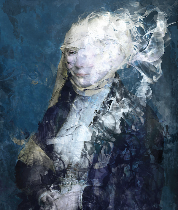 Vrouw in Nassau blauw (2021) 140 x 110 cm, Paintograph, ed. 1/8