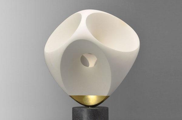 'Ellips D'or' (2020), H 65 cm, 'Pierre de lens' with gold leaf