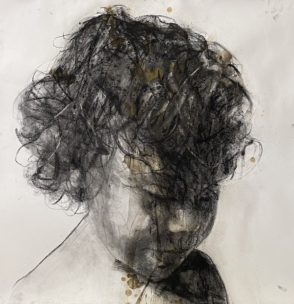'Charcoal sister attentive girl (VER78)' (2021), 138 x 138 cm, Mixed techniques