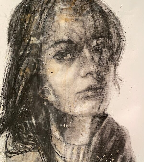 Charcoal lady (VER77) (2021) 168 x 136 cm, Mixed techniques