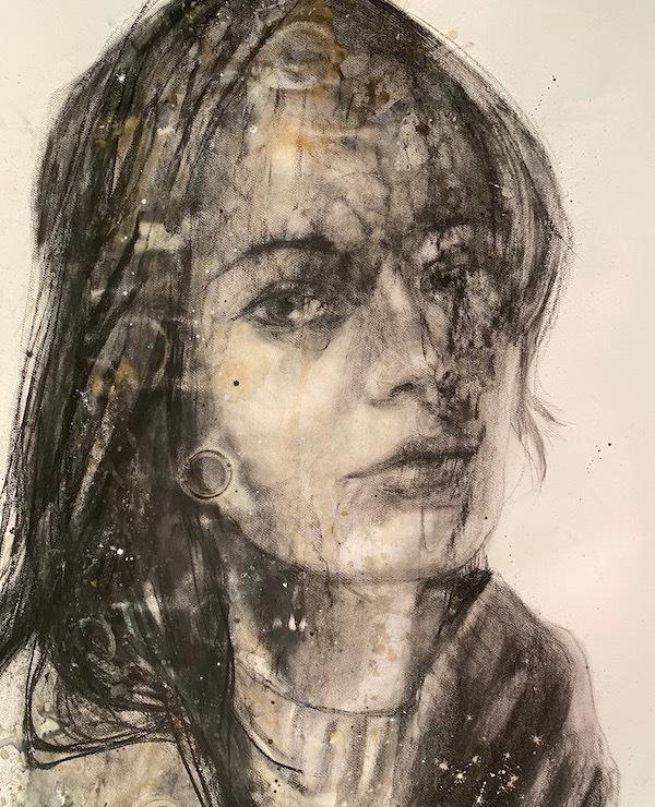 'Charcoal lady (VER77)' (2021), 168 x 136 cm, Mixed techniques