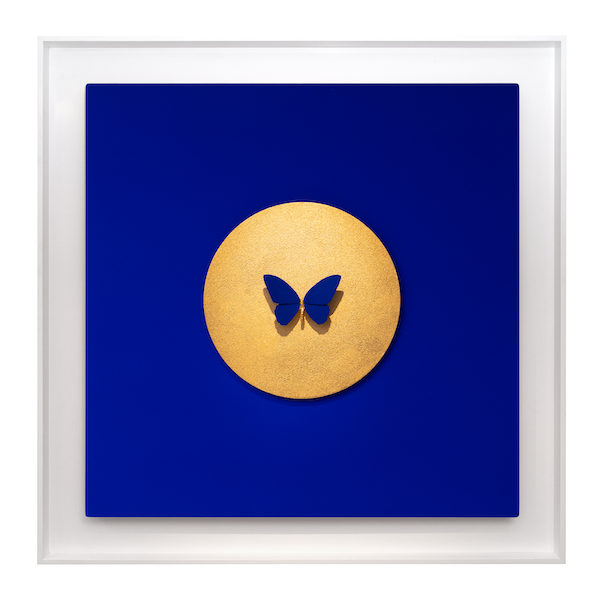'Inversion III Gold on Blue' (2019) 110 x 110 cm, Mixed media