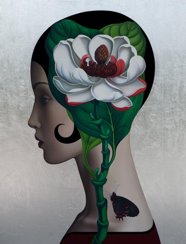 'Magnolia' (2020) 120 x 90 cm, Oil on canvas, silver leaves