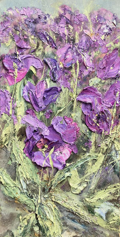 'Danse Violette' (2020) 100 x 50 cm, Oil and soil on canvas