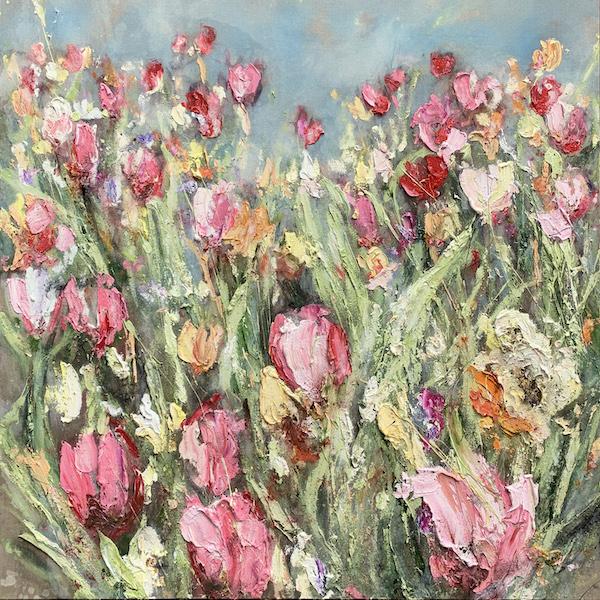 'Désirer' (2021) 140 x 140 cm, Oil and soil on canvas