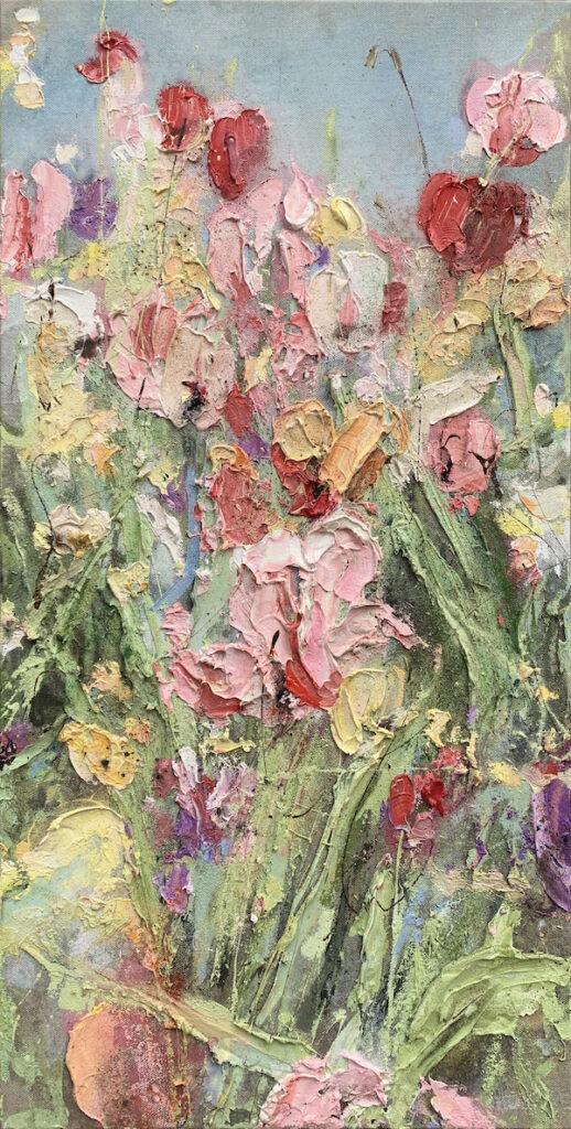 'Fécondation' (2020) 100 x 50 cm, Oil and soil on canvas