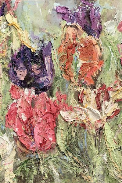 Graines de Joie (2020) 120 x 120 cm, Oil and soil on canvas