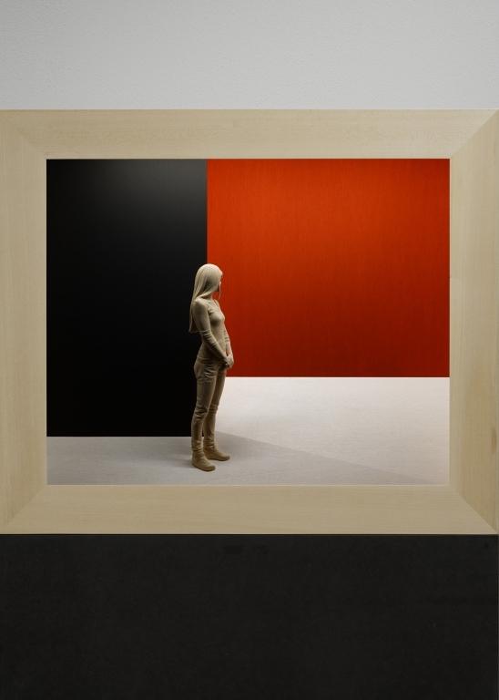 'Behind the corner' (2019) 55 x 65 x 15,5 cm, Linden wood, acrylic paint, LED lights