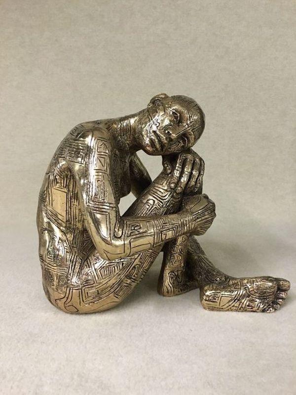 'Pensieri Celati (9148)' (1999), 27 x 29 x 19 cm, Bronze