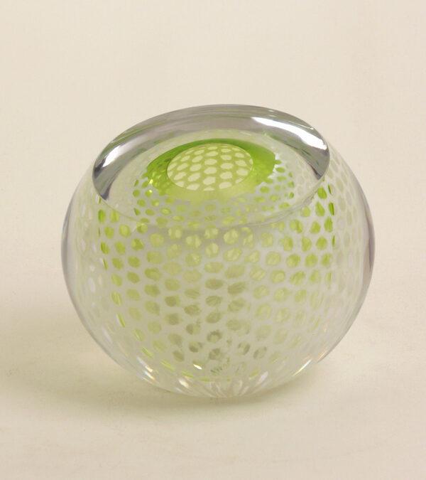"'Orb ""Fibonacci"" Lime' (2017) Mouth blown glas, optical cut and polished"